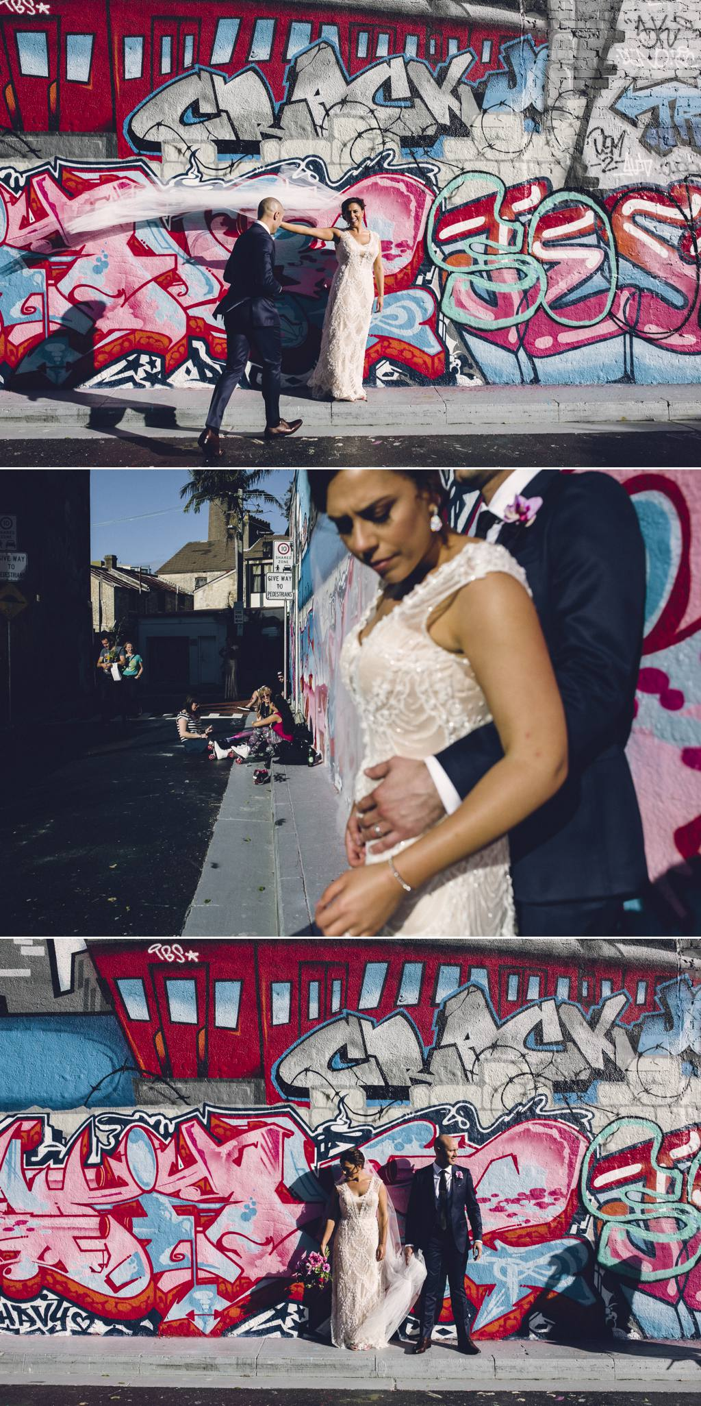 Bride with graffiti wall