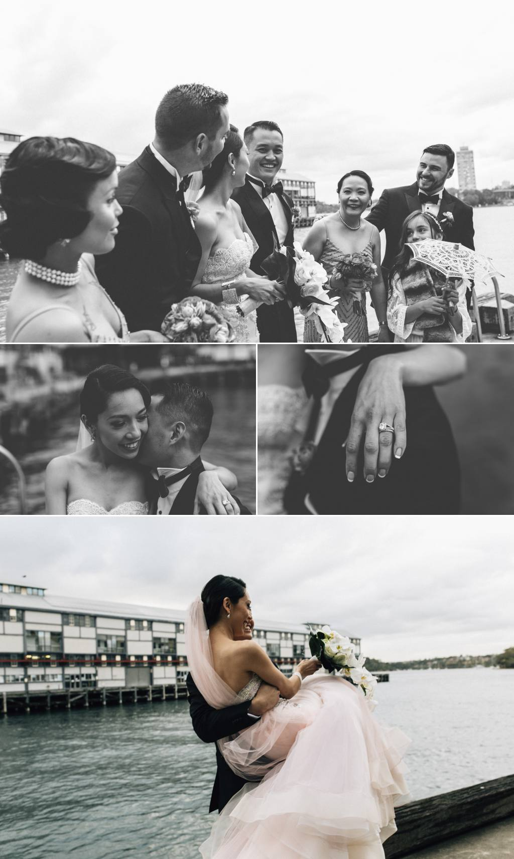 Fun photos by the harbour Tea Rooms Queen Victoria Building Sydney Wedding Julia + Ken