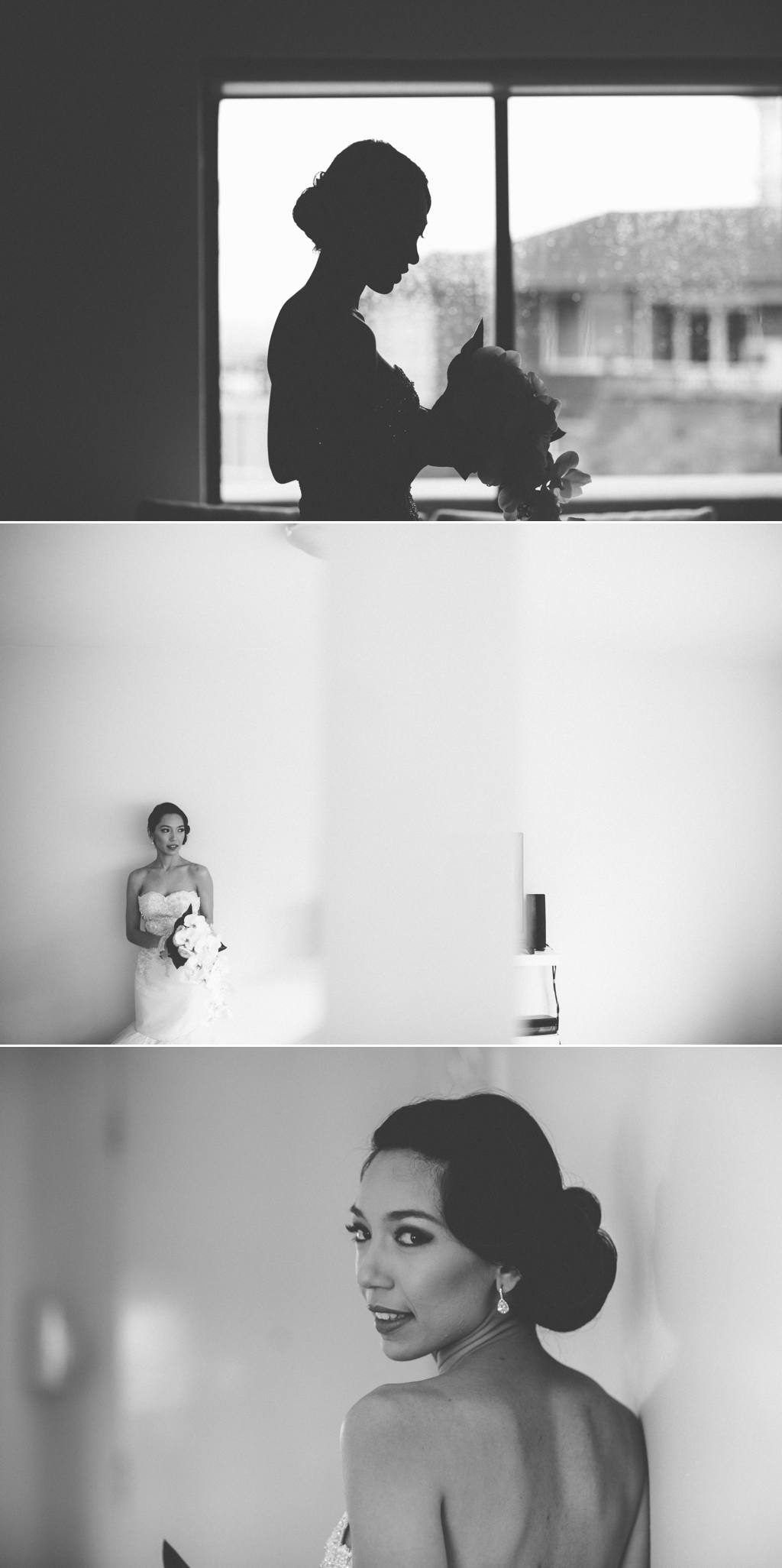 Black and white asian bride before Tea Rooms Queen Victoria Building Sydney Wedding Julia + Ken